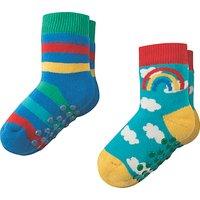 Frugi Organic Baby Grippy Rainbow Socks, Pack of 2, Multi