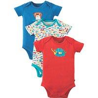 Frugi Organic Baby Otter Bodysuit, Pack of 3, Multi