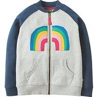 Frugi Organic Childrens Rosa Rainbow Fleece Jacket, Grey/Blue
