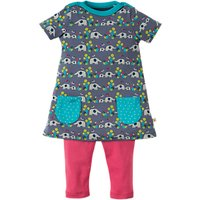 Frugi Organic Baby Elly Savanna Tunic Top and Leggings Set, Grey/Pink