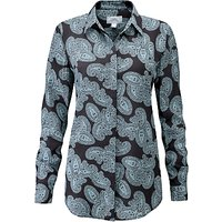 Pure Collection Washed Silk Blouse, Charcoal Paisley
