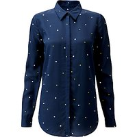 Pure Collection Washed Silk Blouse, Navy/Multi