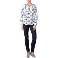 Pure Collection Polka Dot Cotton Shirt, White