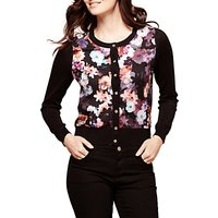 Yumi Floral Woven Cardigan, Black