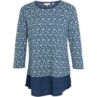 Fat Face Maya Jacquard Floral Dual Layered Top, Blue/Cream