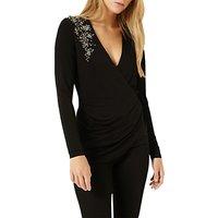 Damsel in a dress Embellished Shoulder Top, Black