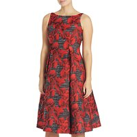 Adrianna Papell Sleeveless Jacquard Floral Dress, Rose/Charcoal