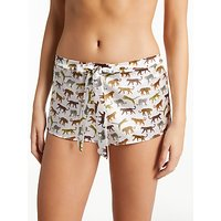 Diane Houston Kitty Print Satin Shorts, Multi