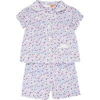 John Lewis Baby Woven Ditsy Floral Print Shortie Pyjamas, Pink/Multi