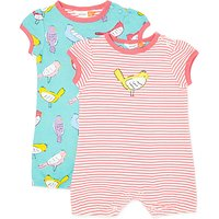 John Lewis Baby Bird Shortie Romper, Pack of 2, Multi