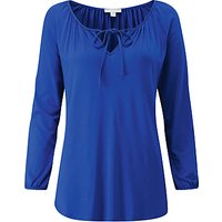 Pure Collection Soft Jersey Tie Neck Top, Sapphire Blue