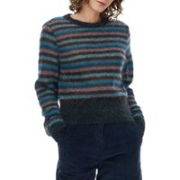 Brora Mohair Striped Jumper, Charcoal