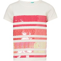 John Lewis & Partners Girls' Stripe Sequin T-Shirt, Cream