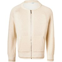 John Lewis Girls Lurex Knitted Bomber Jacket, Gardenia