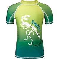 John Lewis & Partners Boys' Short Sleeve Dinosaur Rashie, Green
