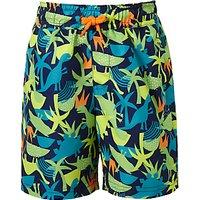 John Lewis & Partners Boys' Dinosaur Print Swimming Shorts, Green