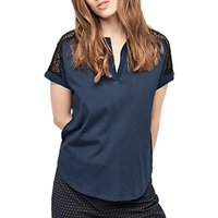 Gerard Darel Urielle Notched V Neck Sheer Shoulder T-Shirt, Deep Blue