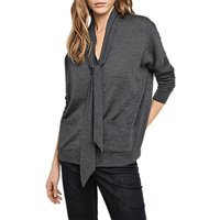 Gerard Darel Tie Neck Cardigan, Dark Grey