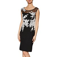 Gina Bacconi Olivia Contrast Embroidery Dress, Black/White