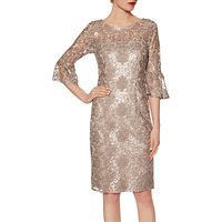Gina Bacconi Candace Sequin Embroidered Crepe Dress, Taupe