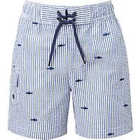 John Lewis Boys Shark Seersucker Swimming Shorts, Blue