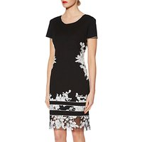 Gina Bacconi Joyce Floral Embroidered Shift Dress, Black/White