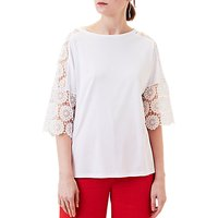 Finery Villiers Lace Sleeve T-Shirt, White