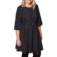 Yumi Curves Polka Dot Pleated Dress, Black