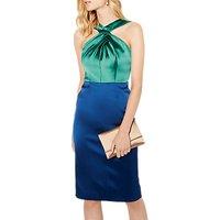 Karen Millen Satin Halterneck Pencil Dress, Green/Multi
