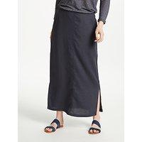 John Lewis Linen Side Split Maxi Skirt, Navy