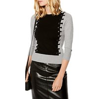 Karen Millen Fine Gauge Knit Eyelet Jumper, Grey/Multi
