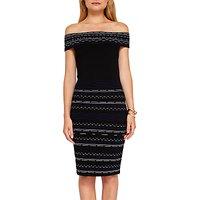 Ted Baker Diraz Bardot Knitted Bodycon Knee Length Dress, Black/White