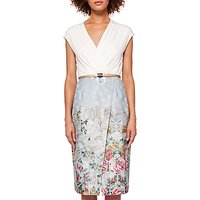 Ted Baker Macal Patchwork Wrap Dress, Pale Blue