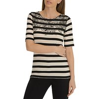 Betty Barclay Floral Detail Striped T-Shirt, Black/Natural