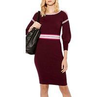 Karen Millen Stripe Knitted Dress, Dark Red