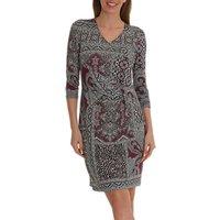 Betty Barclay Paisley Print V Neck Three Quarter Sleeve Shift Dress, Grey/Plum