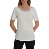 Betty Barclay Embellished Neck T-Shirt, Off White