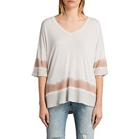 AllSaints Ink Ada Short Sleeve T-Shirt, Chalk White/Pink