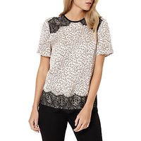 Damsel in a Dress Lynx Print Top, Blush/Ivory/Black