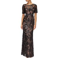 Adrianna Papell Sequined Lace Long Dress, Black/Nude