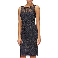 Adrianna Papell Sleeveless Beaded Dress, Navy Gunmetal