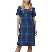 East Linen Check Shift Dress, Indigo