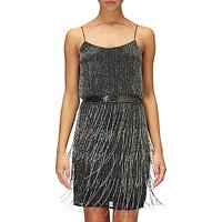 Adrianna Papell Beaded Fringe Cocktail Dress, Black/Silver