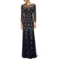 Adrianna Papell Three Quarter Sleeve Beaded Dress, Midnight/Lead