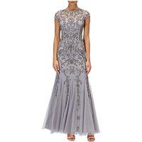 Adrianna Papell Long Beaded Mermaid Dress, Silver/Grey