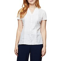 East Lace Dobby Pintuck Blouse, White
