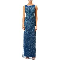 Adrianna Papell Beaded Boat Neck Long Evening Dress, Blue