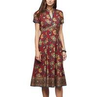 East Anokhi Shirin Print Dress, Red/Multi