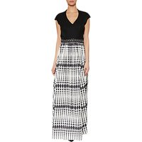 Gina Bacconi Harriet Printed Satin Maxi Dress, Black/White
