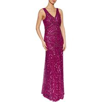 Gina Bacconi Iris Beaded Maxi Dress, Magenta